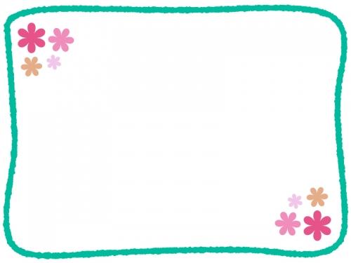 手書き線の小花フレーム飾り枠イラスト02