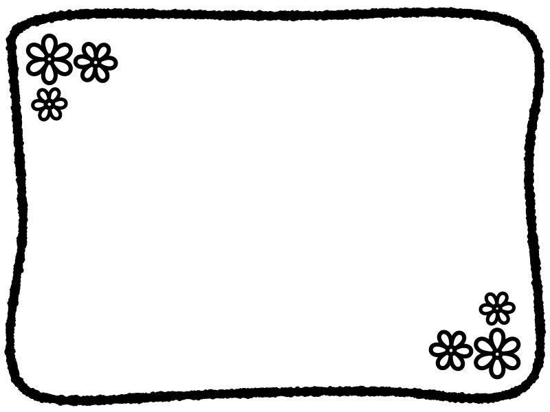 白黒の手書き線の小花フレーム飾り枠イラスト 無料イラスト かわいいフリー素材集 フレームぽけっと