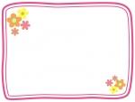 小花の二重線フレーム飾り枠イラスト