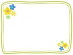 小花の二重線フレーム飾り枠イラスト02