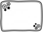 白黒の小花の二重線フレーム飾り枠イラスト