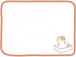 膨らんだお餅のオレンジ色フレーム飾り枠イラスト