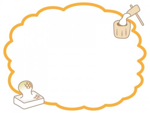 餅つきとお餅のオレンジ色のもこもこフレーム飾り枠イラスト