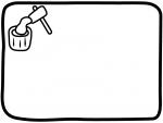 餅つきの白黒フレーム飾り枠イラスト