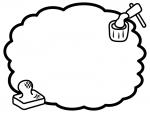 餅つきとお餅の白黒のもこもこフレーム飾り枠イラスト