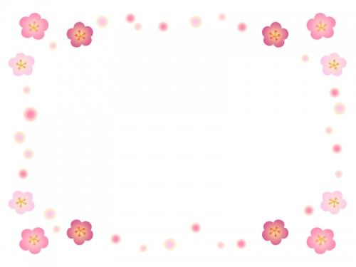 梅の花のふんわりドットフレーム飾り枠イラスト