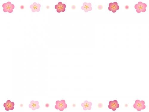 梅の花とふんわりドットの上下フレーム飾り枠イラスト