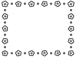 梅の花とドットの白黒囲みフレーム飾り枠イラスト