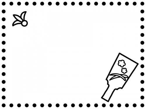 羽根つきの白黒点線お正月フレーム飾り枠イラスト 無料イラスト