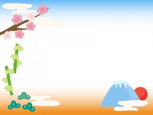 初日の出と松竹梅のお正月フレーム飾り枠イラスト 無料イラスト