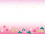 松竹梅と金箔のピンク色上下お正月フレーム飾り枠イラスト