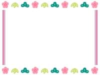 松竹梅と二重線のお正月フレーム飾り枠イラスト