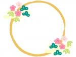 松竹梅と筆線の円形お正月フレーム飾り枠イラスト