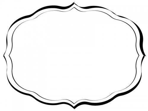 白黒の手書き風のシンプルな飾り罫線フレームイラスト