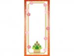 門松と梅と金箔の赤色縦長お正月フレーム飾り枠イラスト