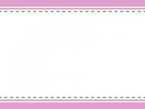 ピンク×緑色の上下シンプルフレーム飾り枠イラスト