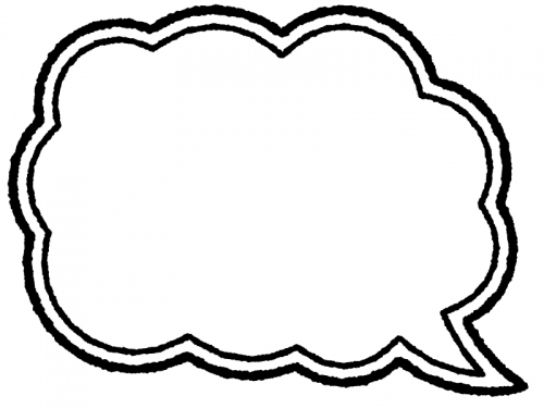 白黒の手書きの吹き出しフレーム飾り枠イラスト02