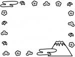 富士山と松竹梅の白黒お正月フレーム飾り枠イラスト