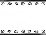 松竹梅と二重線の上下白黒お正月フレーム飾り枠イラスト
