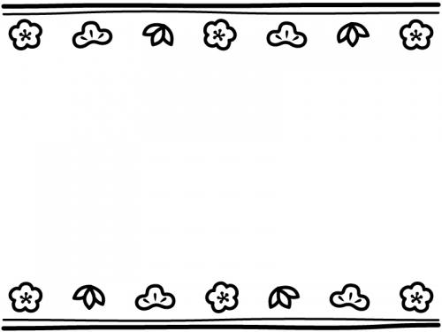 松竹梅と二重線の上下白黒お正月フレーム飾り枠イラスト 無料
