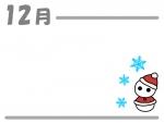 12月・雪だるまサンタのクリスマスフレーム飾り枠イラスト
