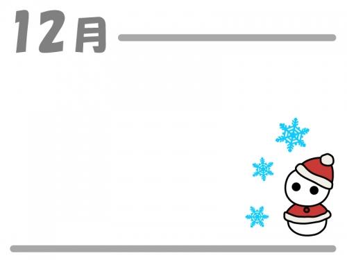 12月雪だるまサンタのクリスマスフレーム飾り枠イラスト 無料
