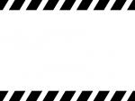 白黒の上下の斜めストライプのフレーム飾り枠イラスト02
