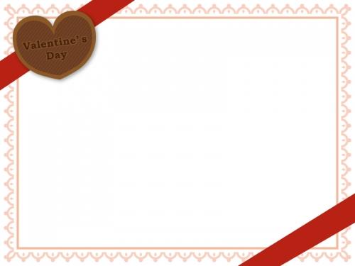 赤いリボンとバレンタインバッジのレース風フレーム飾り枠イラスト