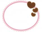 バレンタインバッジとピンクのレース風楕円フレーム飾り枠イラスト