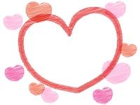 落書き風ピンクハートのバレンタインフレーム飾り枠イラスト