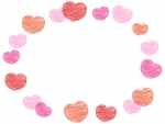 落書き風ピンクハートのバレンタイン楕円フレーム飾り枠イラスト