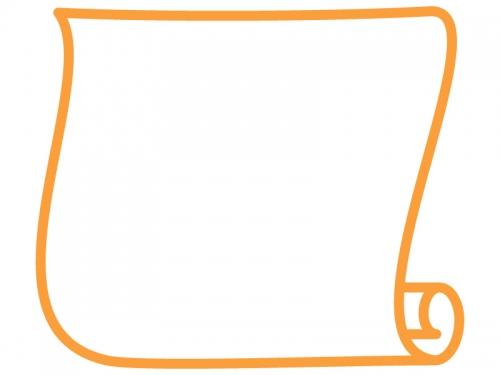 縦型のシンプルな巻紙のフレーム飾り枠イラスト02