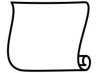 白黒のシンプルな縦型巻紙のフレーム飾り枠イラスト