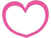 シンプルなピンクのハート型のフレーム飾り枠イラスト