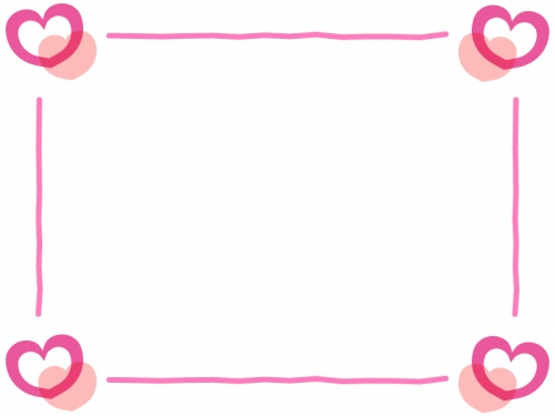 ピンクのハートの四隅フレーム飾り枠イラスト