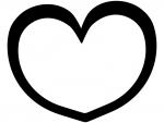 シンプルなハート型の白黒フレーム飾り枠イラスト