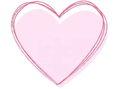 シンプルなピンクハート型の手書き風フレーム飾り枠イラスト 無料