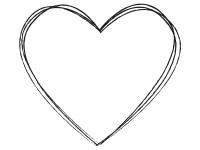 シンプルな白黒ハート型の手書き風フレーム飾り枠イラスト
