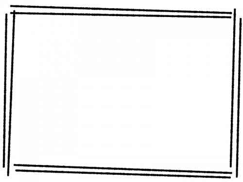 白黒の手書き風斜め二重線のフレーム飾り枠イラスト