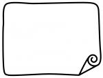 白黒の角がめくれているシンプルなフレーム飾り枠イラスト02
