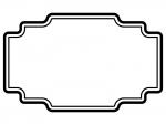 白黒のラベル風デザイン飾り枠フレームイラスト02