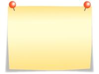 赤いプッシュピンと黄色いメモ用紙のフレーム飾り枠イラスト