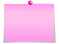 ピンク色のプッシュピンとメモ用紙のフレーム飾り枠イラスト