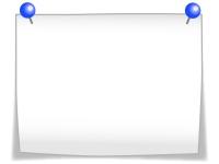 青いのプッシュピンと白いメモ用紙のフレーム飾り枠イラスト