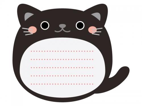 黒ネコのメモ帳風フレーム飾り枠イラスト
