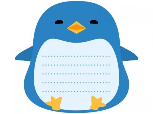 ペンギンのメモ帳風フレーム飾り枠イラスト