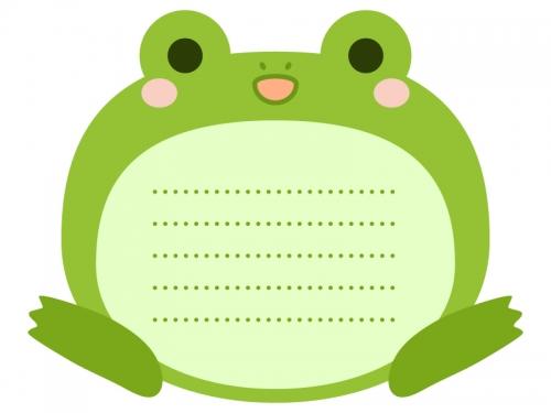 カエルのメモ帳風フレーム飾り枠イラスト