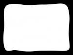 白黒の手書き風のポップなフレーム飾り枠イラスト