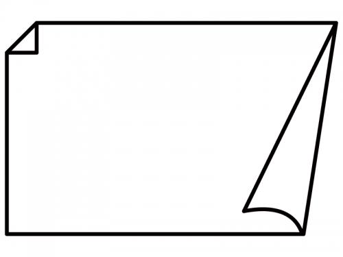 白黒の角がめくれているシンプルなフレーム飾り枠イラスト03
