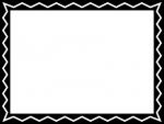 白黒のギザギザ模様のフレーム飾り枠イラスト